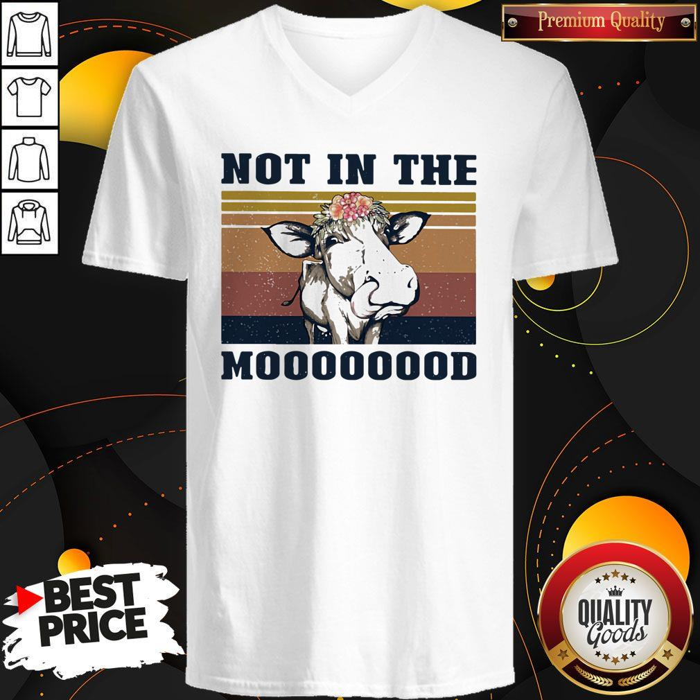 Nice Cow Not In The Mooood Vintage Retro Shirt - 3