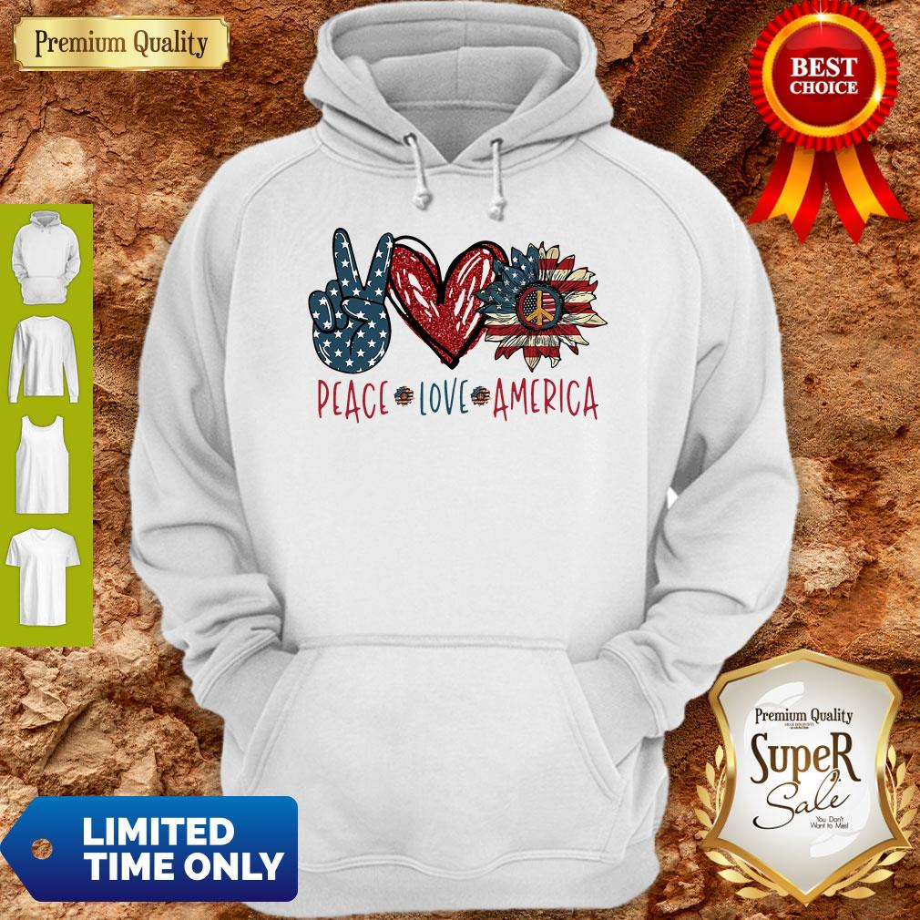 Peace Love Sunflower Cross American Flag Veteran Independence Day Shirt - 2