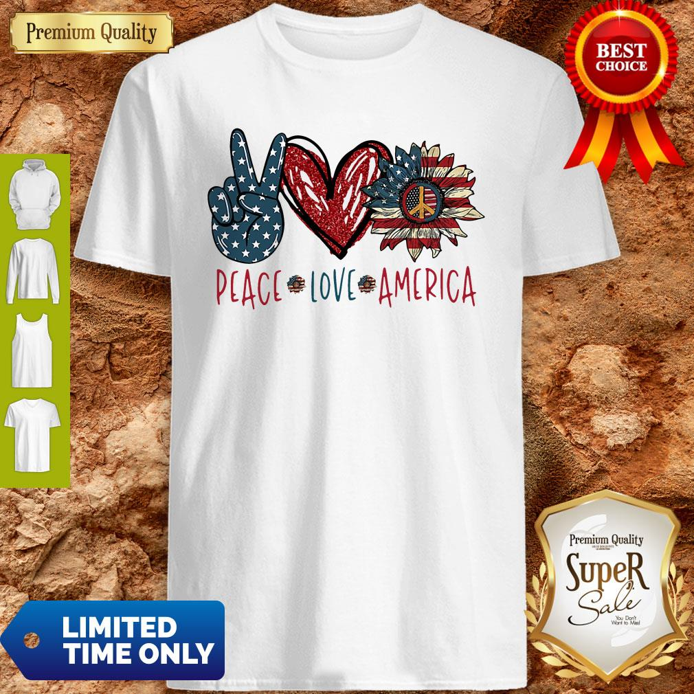 Peace Love Sunflower Cross American Flag Veteran Independence Day Shirt - 1