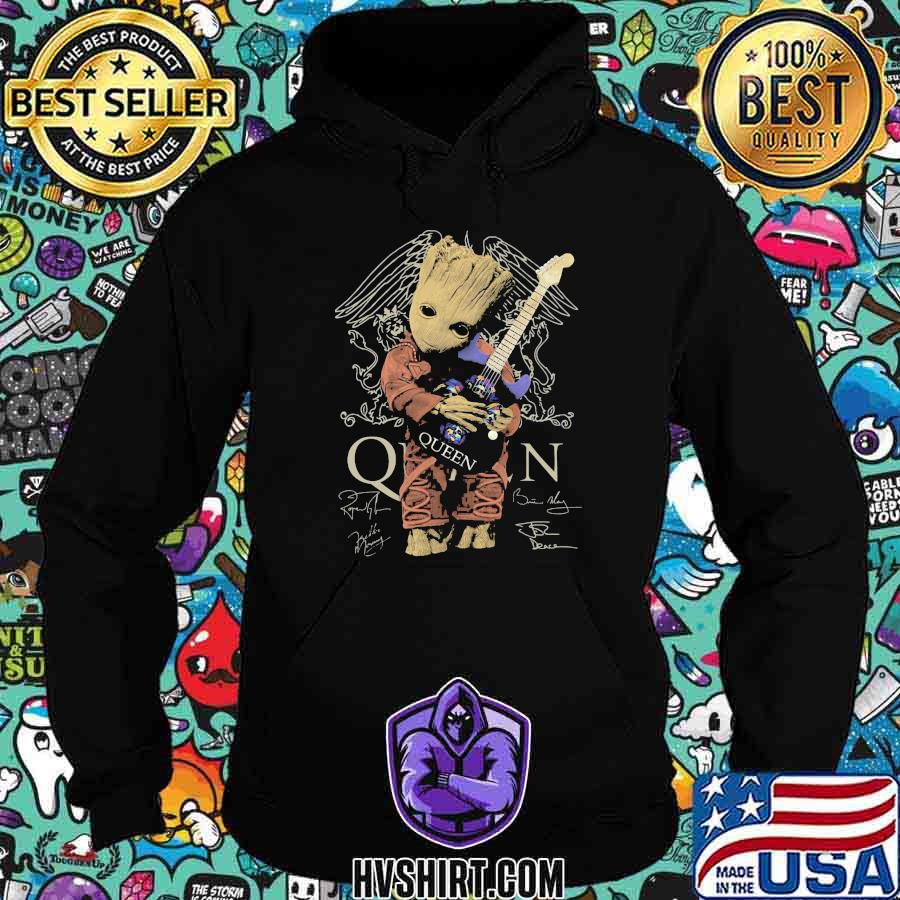 Baby groot hug guitar queen band signatures shirt