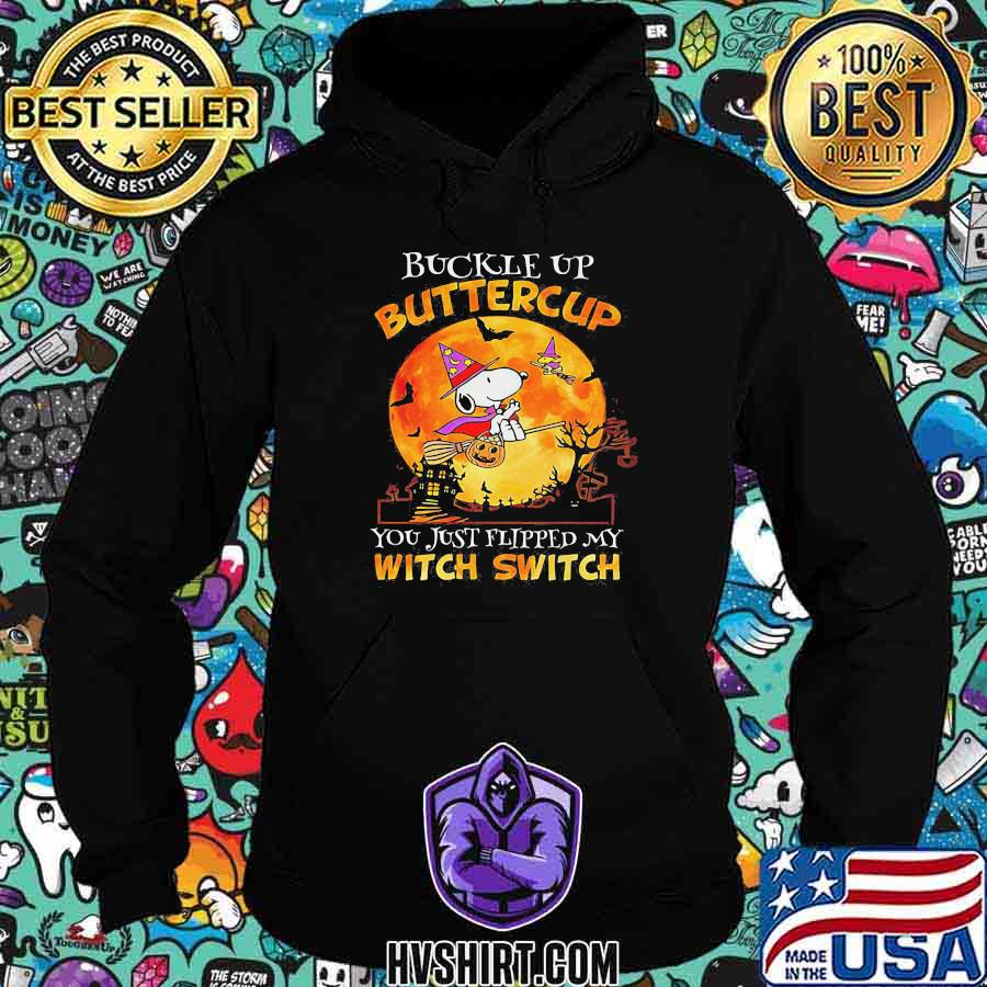 Halloween snoopy buckle up buttercup you just flipped my witch switch moon shirt