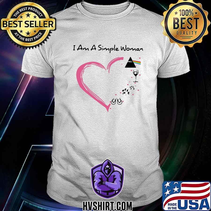 i am a simple woman heart pink floyd wine paw dog camping shirt