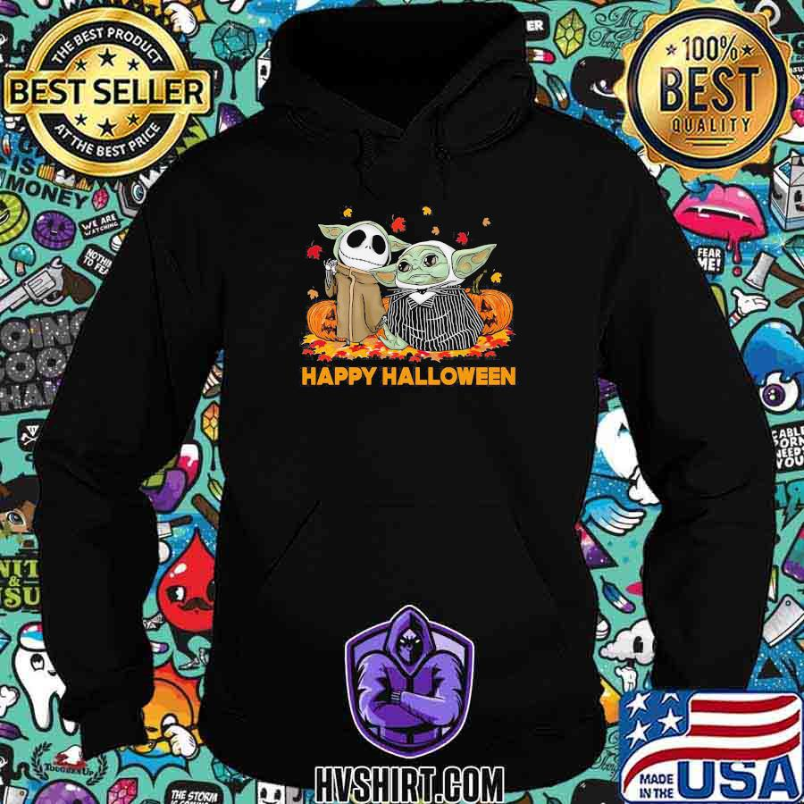 Jack skellington and baby yoda happy halloween leaves shirt