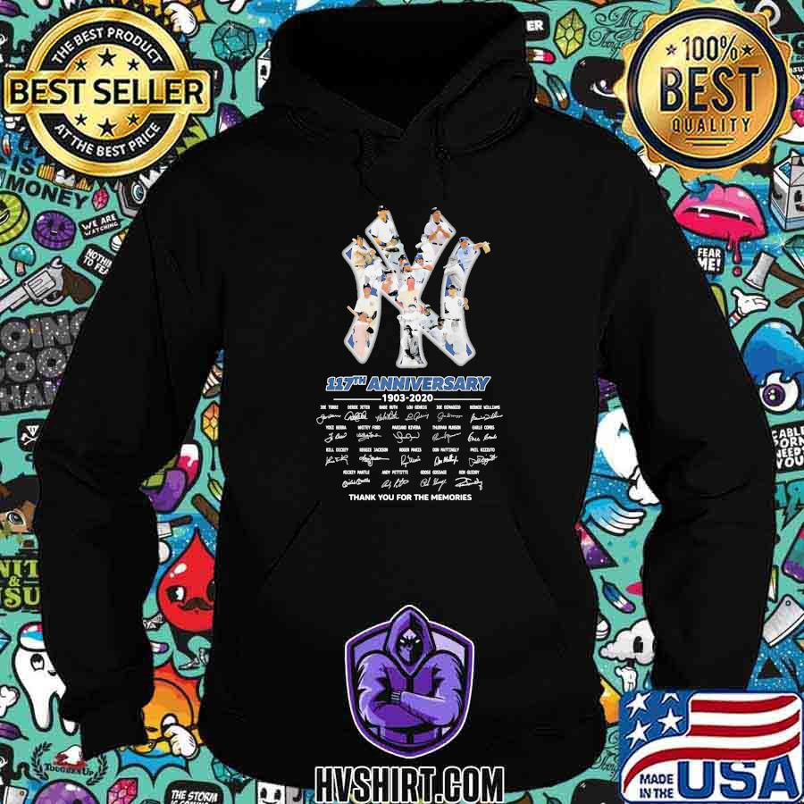 New york yankees 117th anniversary 1903 2020 thank for the memories signatures shirt