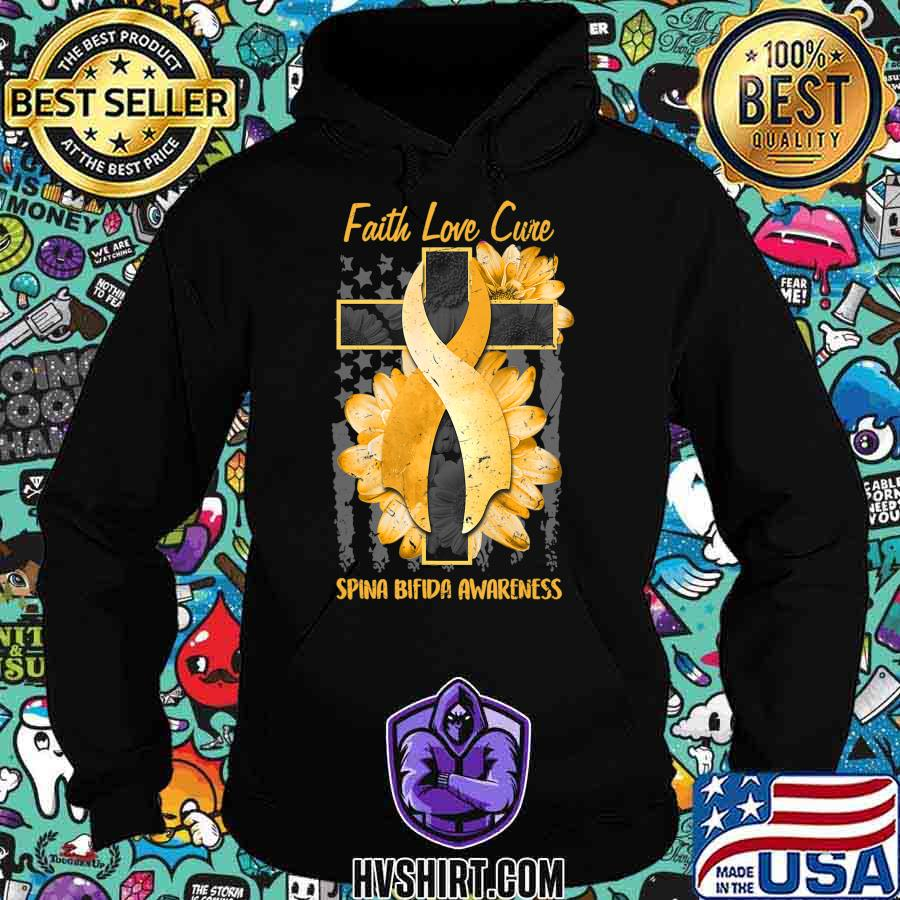 Ph America Flag Christian Cross Ribbon Spina Bifida Gift T-Shirt