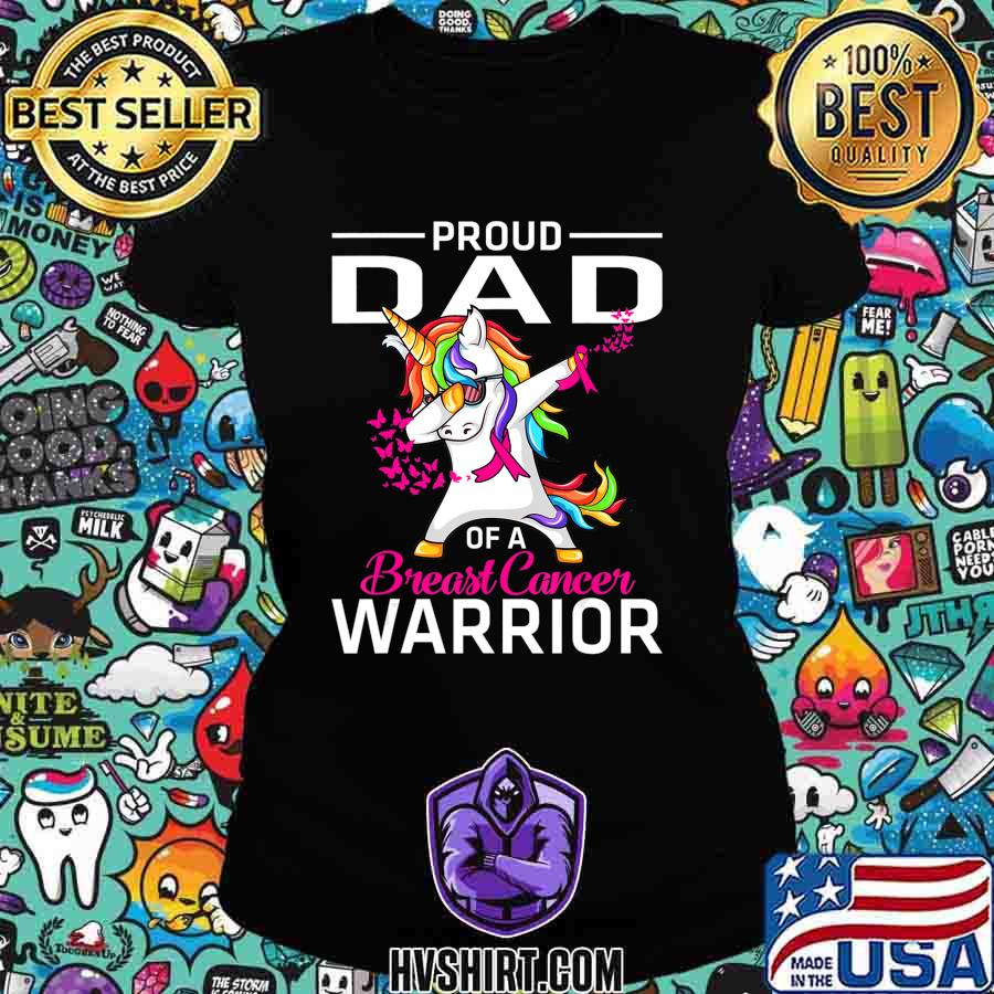 Proud DAD Of A Breast Cancer Warrior Awareness T-Shirt Ladiestee