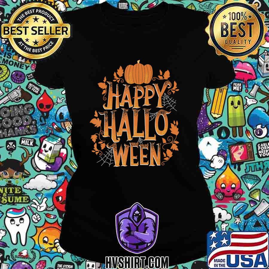 Retro Happy Halloween Shirt Women Men Vintage Pumpkin T-Shirt Ladiestee