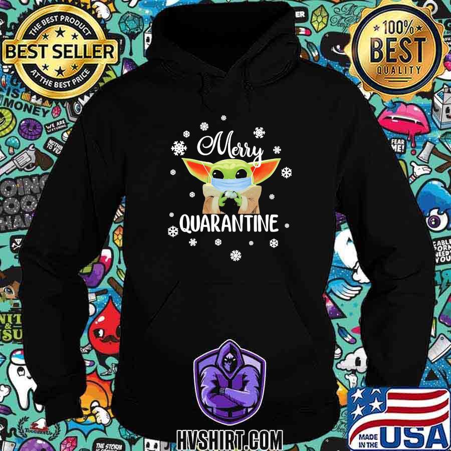 Baby yoda mask metty quarantine snowflakes shirt
