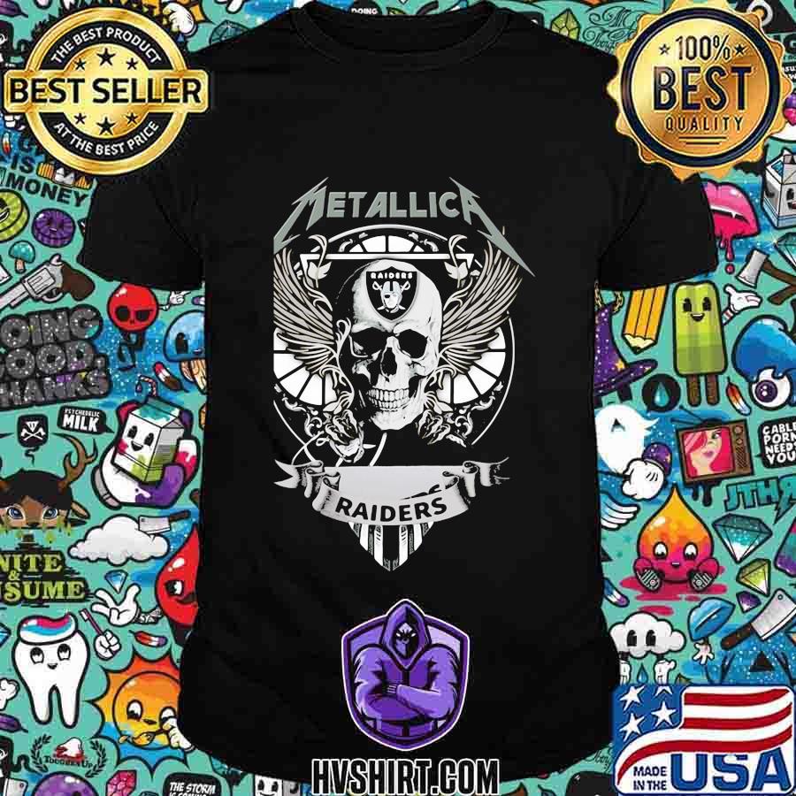 Skull metallica oklahoma raiders logo shirt