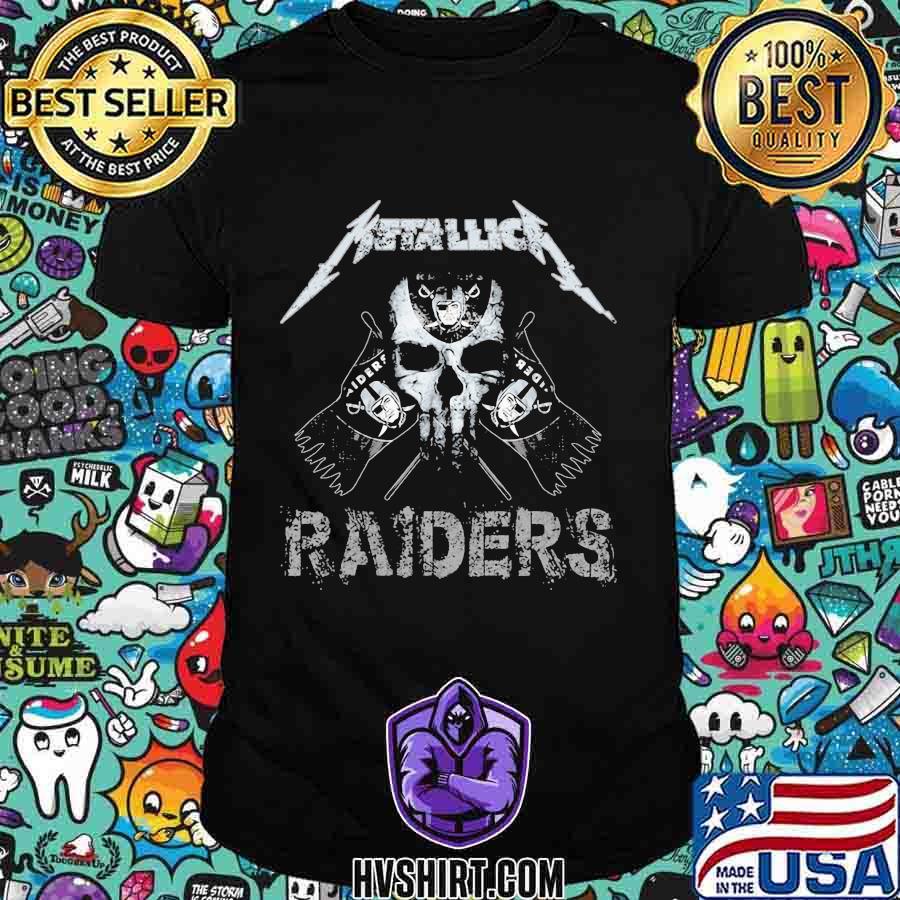 Skull metallica oklahoma raiders shirt