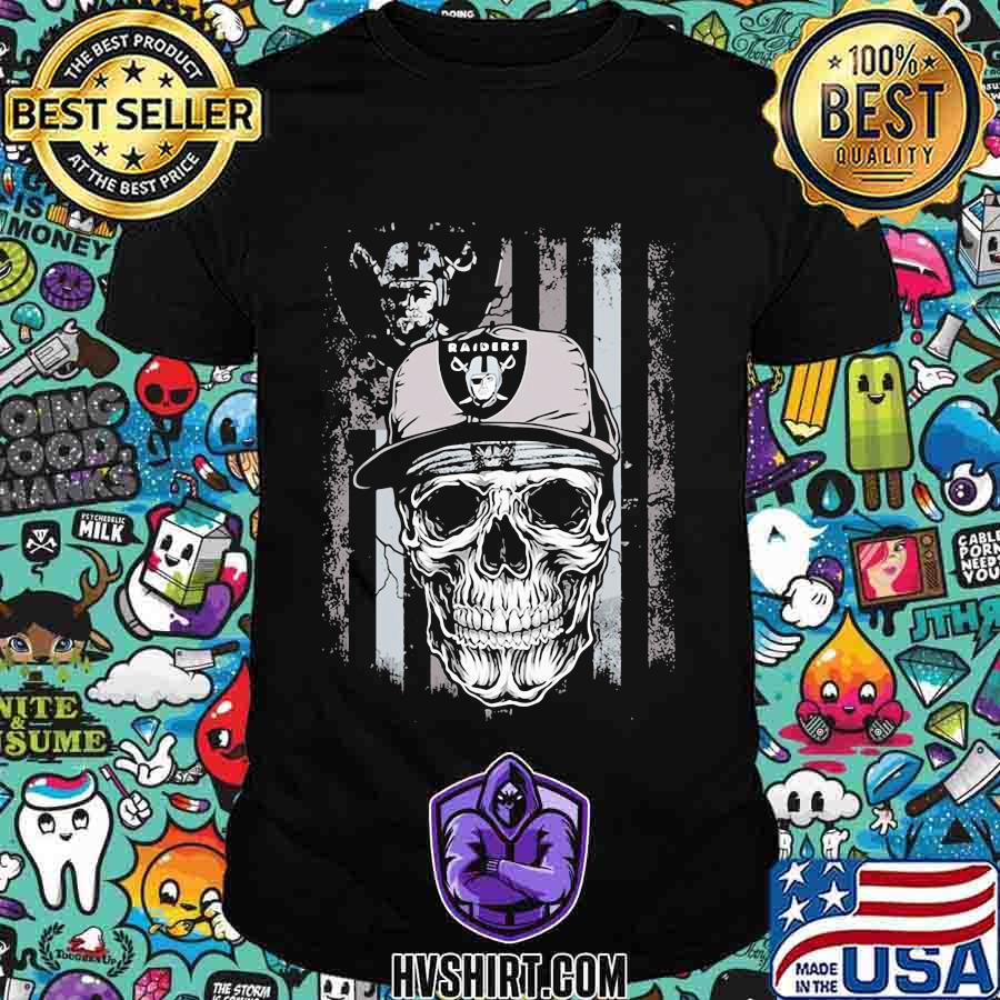 Skull oklahoma raiders american flag shirt