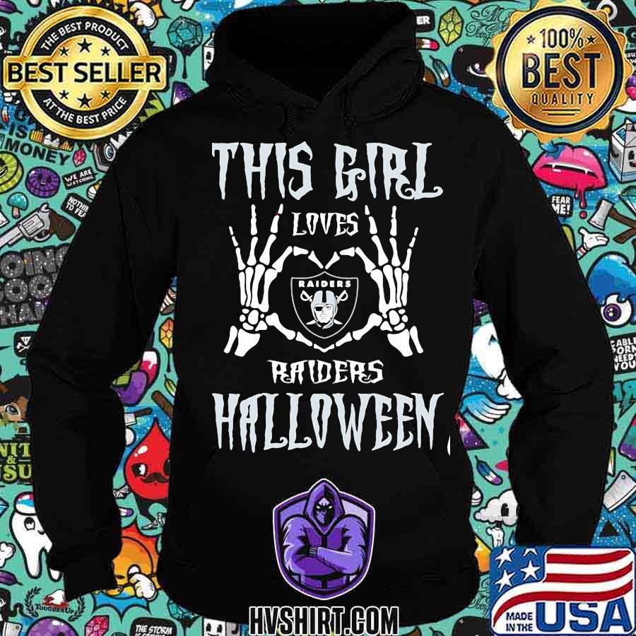 This girl loves oklahoma raiders halloween skeleton heart s Hoodie