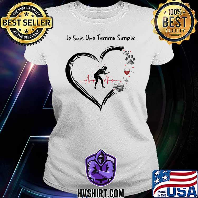 Je suis une femme simple Table Tennis and Wine Dog Shirt Ladiestee
