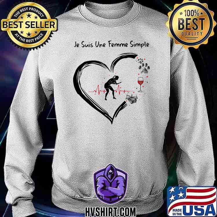 Je suis une femme simple Table Tennis and Wine Dog Shirt Sweatshirt